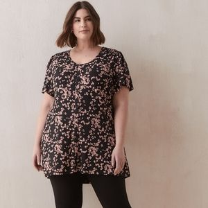 New Penningtons Black Pink Floral Tunic Top Plus